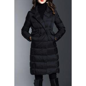 Lapel Knee Length Long Down Coat - Black - Xl