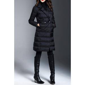 Lapel Knee Length Long Down Coat -