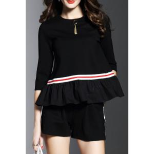 Peplum Top With Elastic Waist Shorts - Black - M