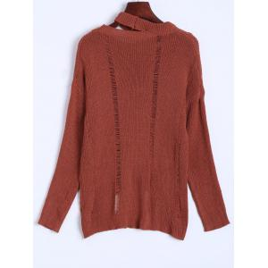 Slouchy Dropped Shoulder Distressed Sweater - JACINTH ONE SIZE
