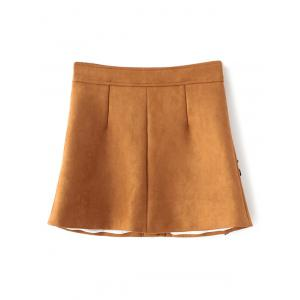 Floral Leather Patch Suede Skirt -