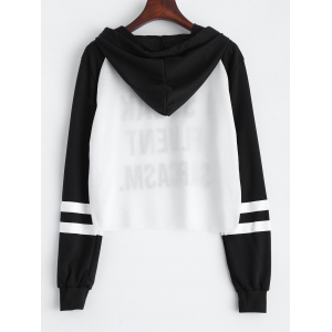 Letter Print Cropped Hoodie -