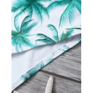 Printed High Cut One Piece Swimsuit - WHITE/GREEN XL