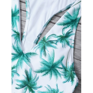 Printed High Cut One Piece Swimsuit -