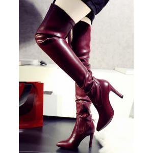 Leather Pointed Toe Stiletto Heel Thigh Boots -