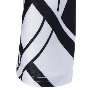Geometric Pattern Long Sleeve Bodycon Dress - WHITE AND BLACK 2XL
