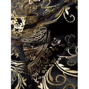 Golden Flower Print Lapel Long Sleeve Blazer For Men -