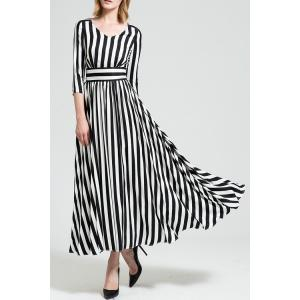 Maxi A Line Striped Dress with Sleeves - White And Black - 2xl