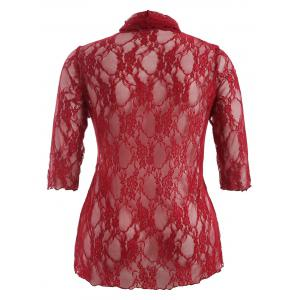 Plus Size Drawstring Asymmetric Lace Jacket - RED 5XL