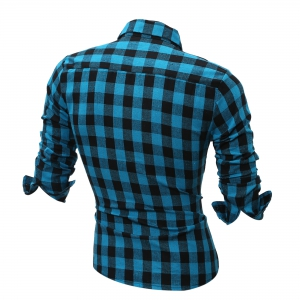 Long Sleeve Breast Pocket Button Up Plaid Shirt -