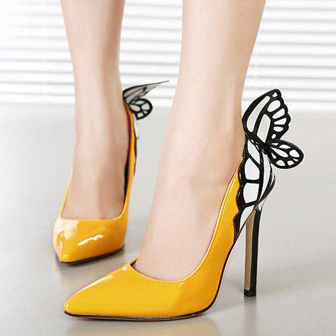 Outfits Gorgeous Butterfly and Point Toe Design Women's Pumps - 39 YELLOW Mobile