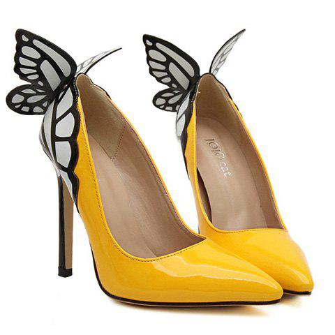 Discount Gorgeous Butterfly and Point Toe Design Women's Pumps YELLOW 39