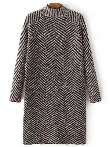 Affordable High Neck Stripe Heather Shift Sweater Dress COFFEE ONE SIZE