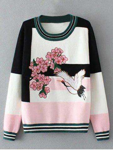 Discount Floral Bird Embellished Sweater PINK ONE SIZE
