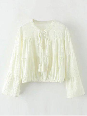 Affordable Bell Sleeve Tassel Keyhole Cropped Blouse
