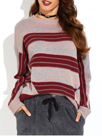 Hot Drop Shoulder Striped Sweater DEEP RED ONE SIZE