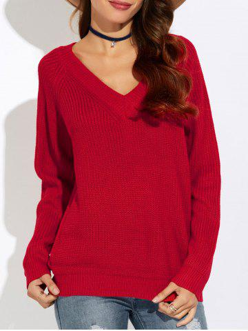 Ribbed V Neck Sweater