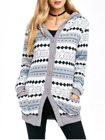 New Active Christmas Snowflake Knit Hoodie