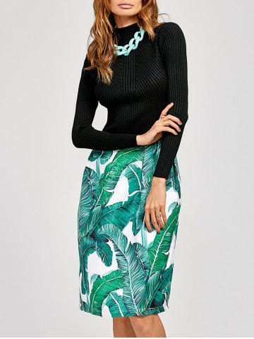 Discount Fit and Flare Jacquard Printed Dress BLACK/GREEN XL