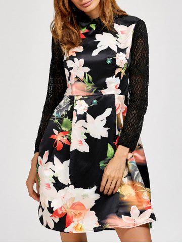 Trendy Lace Insert Floral Long Sleeve Dress