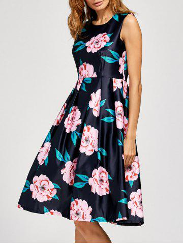 Fancy Floral Fit And Flare Midi Dress DEEP BLUE XL