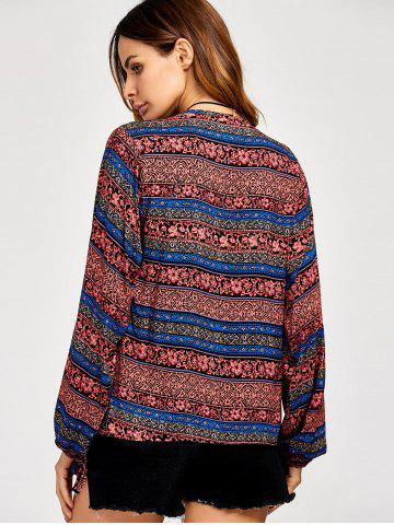 Discount Lace Up Ethnic Print Boho Blouse - 2XL DARK RED Mobile