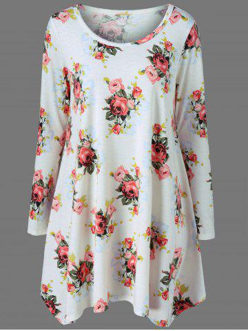 Online Long Sleeve Floral Tee Tunic Skater Dress WHITE M