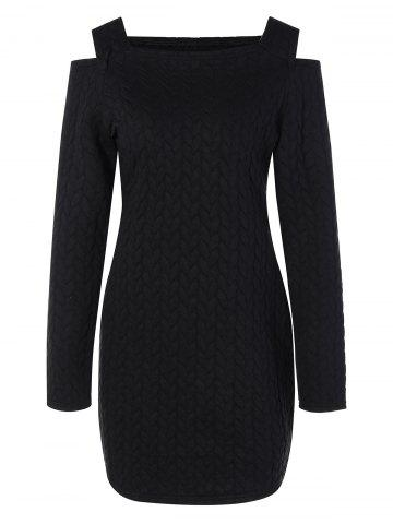 Best Long Sleeve Cut Out Shoulder Knurling Fitted Dress