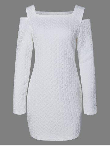 Long Sleeve Cold Shoulder Knurling Fitted Dress - White - S