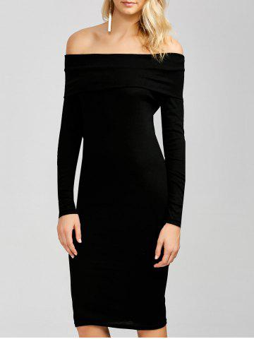 Affordable Off The Shoulder Long Sleeve Bodycon Dress BLACK XL