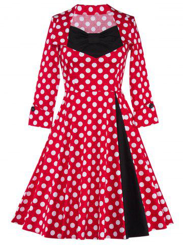 Bowknot Polka Dot Insert Swing Dress - Black And White And Red - S