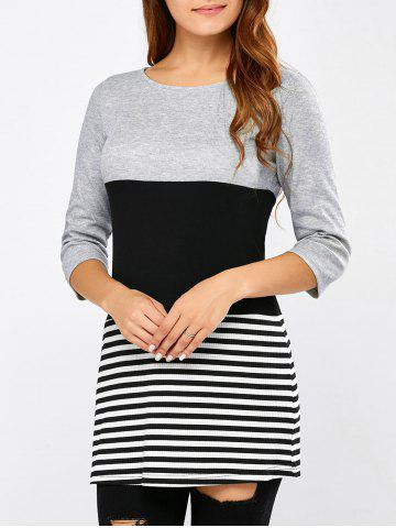 Affordable Striped Patchwork Ribbed T-Shirt
