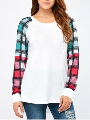 Latest Colorful Plaid Sleeve Tee WHITE M