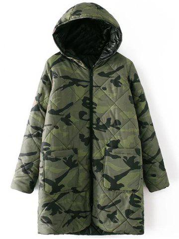 Shop Hooded Camo Quilted Coat CAMOUFLAGE COLOR L