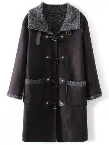 Cheap Faux Suede Fleece Trim Coat