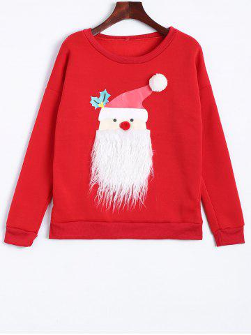 Fancy Santa Clause Christmas Fleece Sweatshirt RED XL