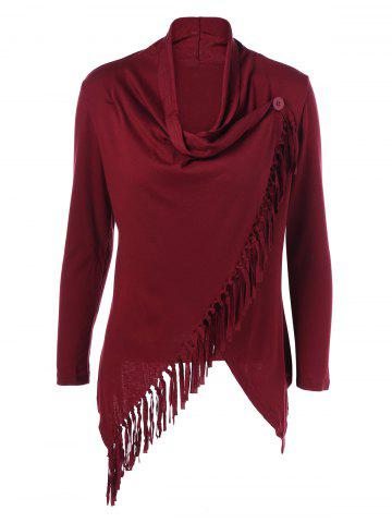 Latest Fringe Asymmetrical Cardigan WINE RED XL