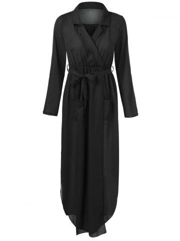 Cheap Belted Maxi Surplice Dress BLACK 2XL