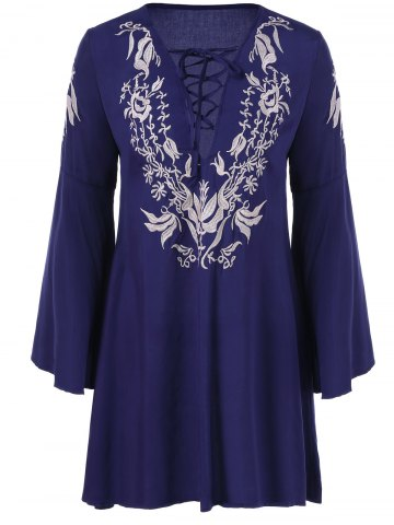 Latest Embroidery Fit and Flare Bell Sleeve Dress