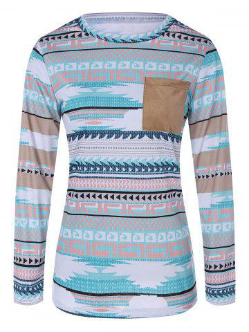 Trendy Single Pocket Tribal Tee CLOUDY XL