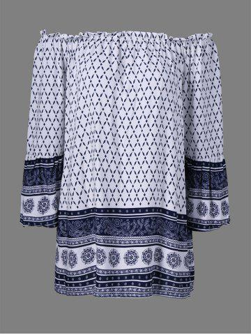Affordable Printed Off The Shoulder Tunic Shift Dress WHITE XL