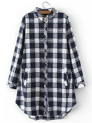 Shops Plus Size Flannel Long Plaid Boyfriend Shirt WHITE 2XL
