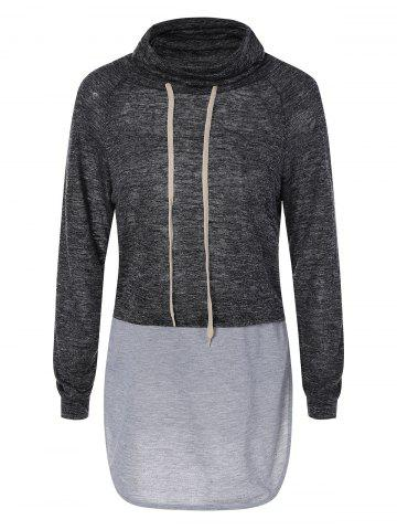 Sale Cowl Neck Drawstring Longline Sweatshirt BLACK/GREY XL
