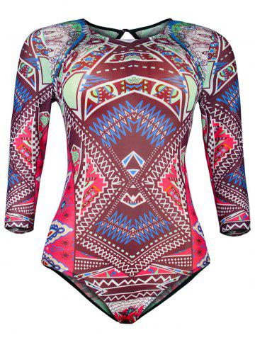 Unique Ornate Print Hollow Out Mesh One-Piece Swimwear COLORMIX 2XL