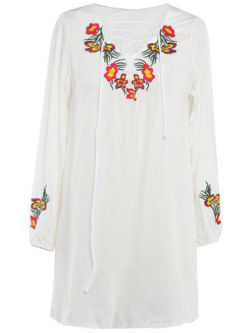 Shops Lace-Up Floral Embroidery Shift Dress WHITE 2XL