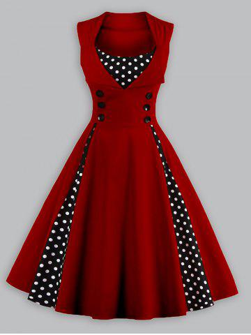Vintage Polka Dot Plus Size Panel Prom Swing Dress - Wine Red - 2xl
