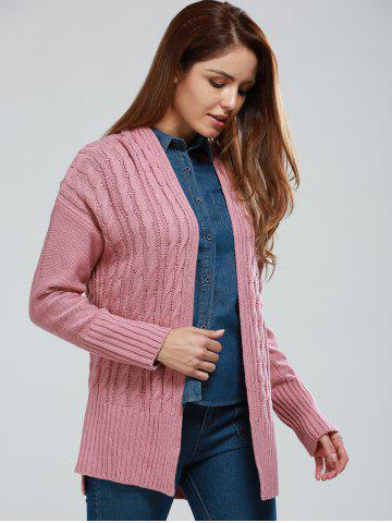 Fancy Collarless Cable Knitting Cardigan
