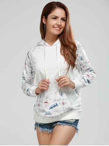Best Long Sleeve Letter Print Funny Hoodie WHITE XL
