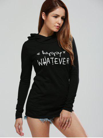 Discount Long Sleeve Letter Print Graphic Hoodie BLACK XL