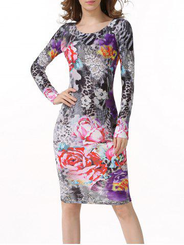 Floral Leopard Bodycon Dress with Long Sleeves - Colormix - L